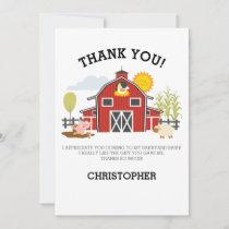 Farm Barnyard Birthday Thank You Card