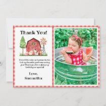 Farm/ Barnyard Birthday Thank You Card with Photo