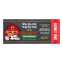 Farm Barnyard Entrance Ticket Pass Birthday Invitation