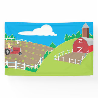 Farm Barnyard Kids Birthday Party Banner