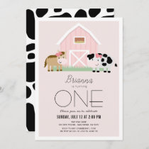 Farm Barnyard Pink Girl 1st Birthday Invitation
