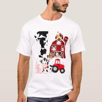 Farm Barnyard Theme Pig Cow Horse 1st Birthday T-Shirt