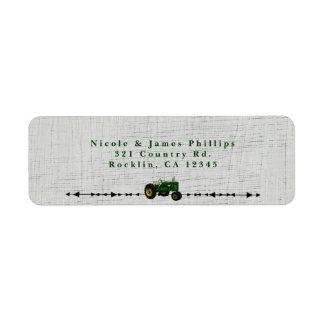 Farm Barnyard Tractor Birthday Party Invitation Label