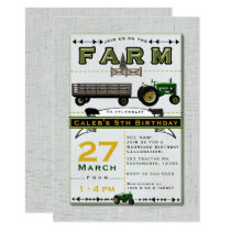 Farm Barnyard Tractor Birthday Party Invitations