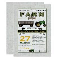 Farm Barnyard Tractor Birthday Party Invitations
