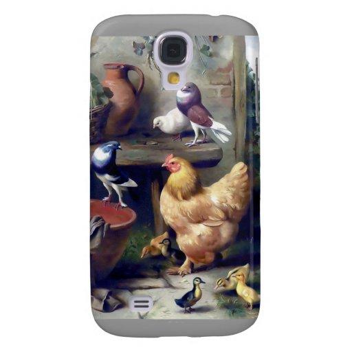 Farm birds hen ducklings pigeons painting samsung galaxy s4 case