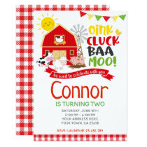 Farm Birthday Invitation, Barnyard Party Invitation