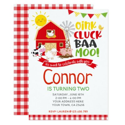 Farm Birthday Invitation Barnyard Party