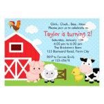 Farm Birthday Invitation - Boy (Blue) - Barnyard
