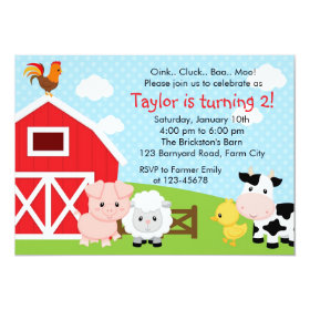 Farm Birthday Invitation - Boy (Blue) - Barnyard 5