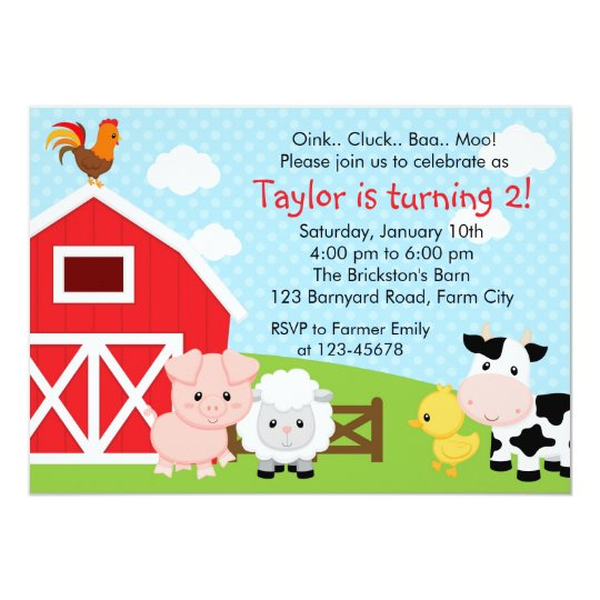 Farm Birthday Invitation Boy Blue Barnyard Zazzle Com