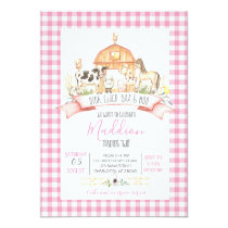 farm birthday invitation, girl farm party invitation