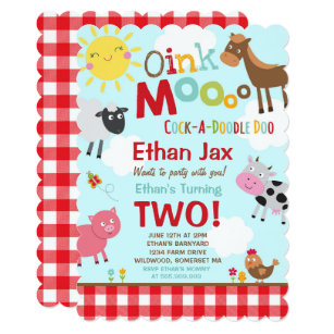 Farm Birthday Invitations Zazzle