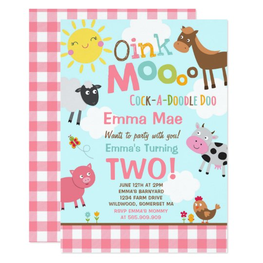 farm birthday invitation old macdonald farm party zazzle com