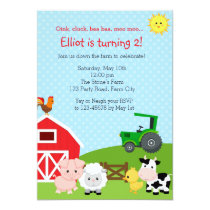 Farm Birthday Invitation with Green Tractor (Barn)