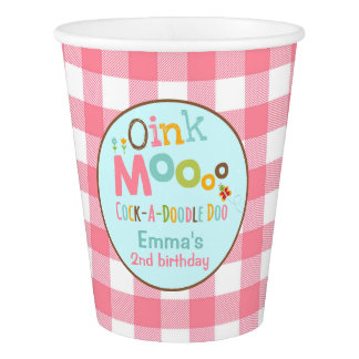 Farm Birthday Paper Cup Old MacDonald Party