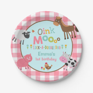 """Farm Birthday Paper Plate 7"""" Old MacDonald Party"""