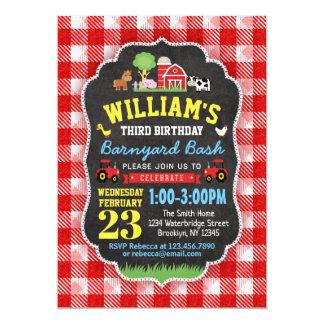 Farm Birthday Party Invitation Red Barn Animal Boy