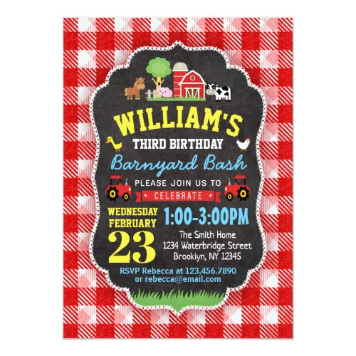 Farm Birthday Party Invitation Red Barn Animal Boy