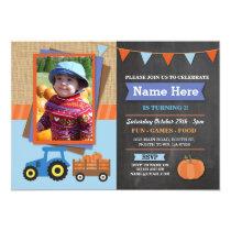 Farm Birthday Party Pumpkin Tractor Photo Invite