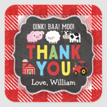 Farm Birthday Party Thank You Stickers Oink Baa