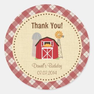 Farm Birthday Thank You Sticker