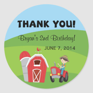 Farm Birthday Thank You Stickers