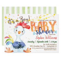 Farm Boy Baby Shower Rooster invitation