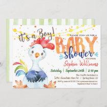 Farm Boy Baby Shower Rooster invitation