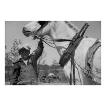 Farm Boy with Plow Horse, 1930s Poster
