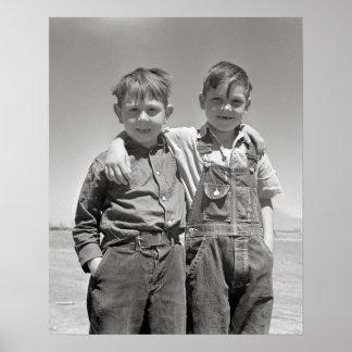 Farm Boys, 1936. Vintage Photo Poster