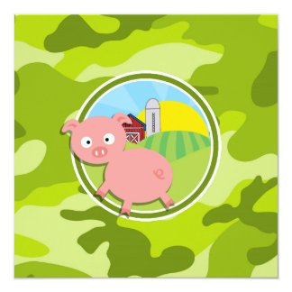 Farm; bright green camo, camouflage invitation