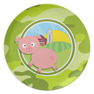 Farm; bright green camo, camouflage dinner plates