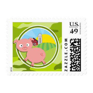 Farm; bright green camo, camouflage postage stamps