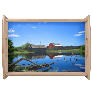 Farm Buildings and Pond. Serving Platters