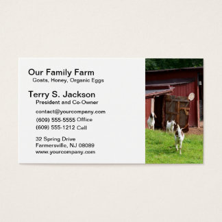 Farm Business Card with Red Barn and Bohr Goats