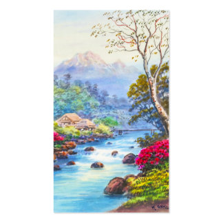 Farm By Flowing Stream K Seki watercolor scenery Double-Sided Standard Business Cards (Pack Of 100)