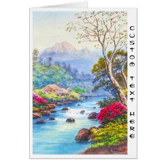 Farm By Flowing Stream K Seki watercolor scenery Stationery Note Card