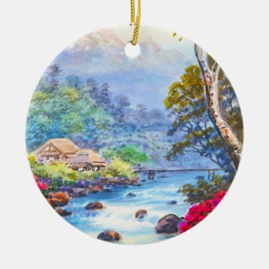 Farm By Flowing Stream K Seki watercolor scenery Ceramic Ornament