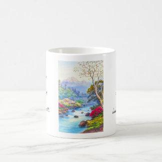 Farm By Flowing Stream K Seki watercolor scenery Classic White Coffee Mug