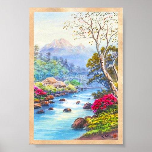 Farm By Flowing Stream K Seki watercolor scenery Poster