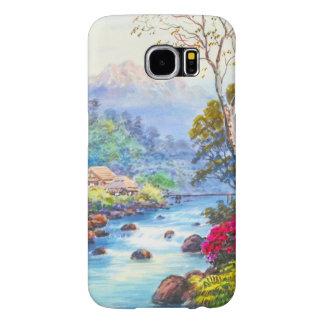 Farm By Flowing Stream K Seki watercolor scenery Samsung Galaxy S6 Case