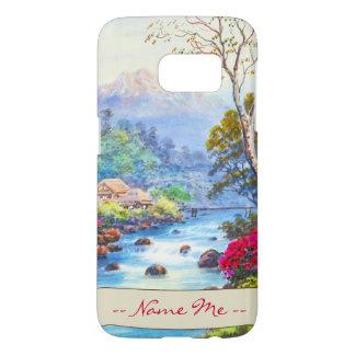Farm By Flowing Stream K Seki watercolor scenery Samsung Galaxy S7 Case