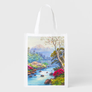 Farm By Flowing Stream K Seki watercolor scenery Grocery Bag