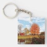 Farm by Pond in Autumn Acrylic Key Chains