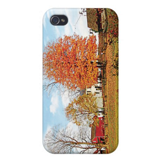 Farm by Pond in Autumn iPhone 4/4S Cases