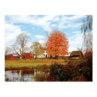 Farm By Pond in Autumn Post Card