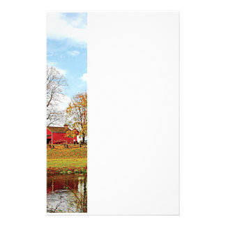 Farm By Pond in Autumn Stationery