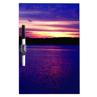 Farm Camper Lake Sunset Blue Purple Lake Dry Erase Boards