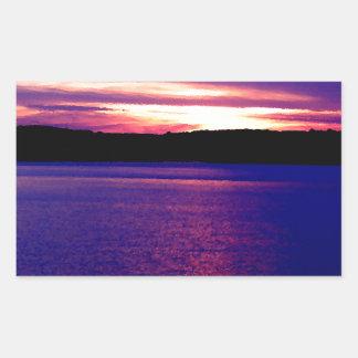 Farm Camper Lake Sunset Blue Purple Lake Rectangle Stickers
